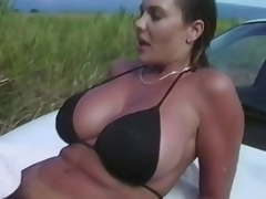 No thing can stop this couple to do some tricky fucking.  Here they are, in the grassy outdoor... trying to do an adventurous fuck again, and satisfy their cravings.  There's more... take a little peep as they try to fuck right on top of the car, underneath the