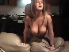 Older bitch with large natural pointer sisters is screwed from behind, her man is rough with her.