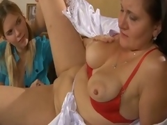 Mature lesbian acquires a youthful gal to play with