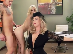 Ash Hollywood,Brandi Love and Clover in amazing hardcore threesome porn action