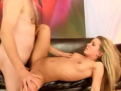 Slutty hot horny blonde bitch Bianca Arden enjoys giving blowjobs and a good fuck on a chair.