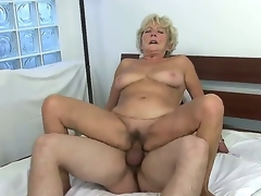 Check out with old slut Malya riding large young meat stick