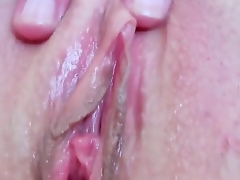 Devilishly hawt doxy Eileen with juicy tits and smooth bush fucking herself with fingers on camera for your viewing enjoyment