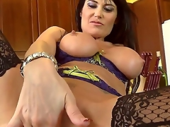 This French mom with giant bra buddies is a real sex freak! This babe looks charming in her sexy lingerie and her twat is already soaking wet. After playing with herself this babe goes down on a pulsating cock.