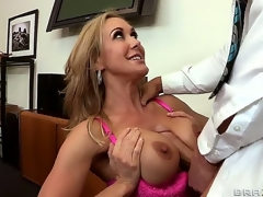 Seductive attractive turned on cock hungry brunette milf Brandi Love with large juicy hooters and tight sexy body receives her soaked minge fucked hard by Johnny Sins with huge hard cock