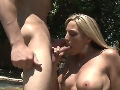 Blonde MILF Sindy Lange is so much of a sex-frenzied cougar that that babe doesnt even mind hooking it up with her son-in-law. His large young wang makes her feel so alive!
