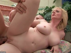 Monik is a wonderful looking older blonde with sexy body. Hairless pussy woman with large tits acquires her anal hole drilled by pulsating hard dick of her young fuck buddy. See busty older doxy acquires her fudge packed