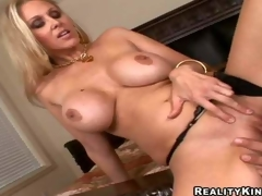 Smokin' hot blonde milf Julia Ann with gigantic firm billibongs and long legs in black undies gets shaved cunny licked by Ramon Nomar and gives him memorable titjob in close up