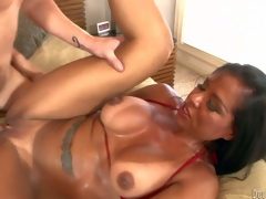Viana Milian is a smokin' hot milf with tanlined a-hole and boobs, Big boobed dark haired experienced whore takes guys hard dick so deep in her shaved pussy. Watch horny mom acquire slam fucked