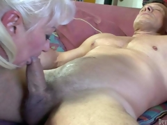 Dana Hayes is s blond-haired granny with great cock engulfing experience. That babe gives blowjob to well built hard cocked guy. That babe sucks his rock hard dick non-stop and cant acquire enough. See smutty oldie blow!