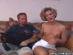 Sexy slender older brunette hair milf with small bumpers and fit body in short white petticoat and undies has fun with her filthy neighbour and takes on his beefy pecker in living room