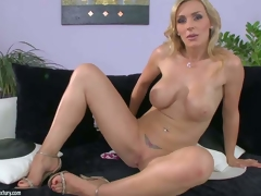 Tanya Tate is one flawless bodied milf babe with huge scones and bubble ass. She pulls off her thong pants and then gievs a closeup view of her shaved pussy. This sexy buxom milf shows it all