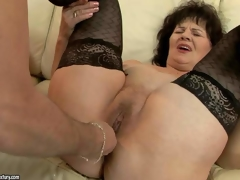 Wicked granny Helena May in black nylons receives her pussy and anal opening toy screwed by her curious fuck buddy before he inserts his hard dick in her vagina. See aged woman receive enjoyment