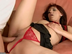 Gina Red is one insatiable mature brunette hair in sexy red strap panties. This babe acquires her shaved bawdy cleft drilled hard and unfathomable in many positions by her sexy blooded fuck buddy in advance of she acquires enough