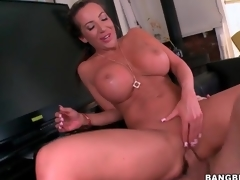 Lengthy shaft copulates hot vagina of large boobs milf
