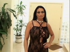 Huge boobs milf in black lingerie sucks cock
