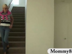 Older stepmom with large scoops walks in on teenies having sex