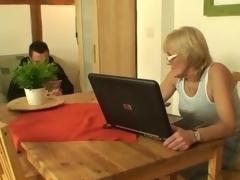Porn-loving granny fucks a young guy