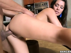 Sienna West is fucking this dude's hard knob until that guy cums on her face and billibongs