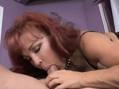 Older redheaded mother in law acquires a lusty slit licking from her new son