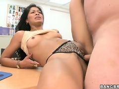 After toying her pussy, a sexually excited brunette hair gets slammed by a real meat pole