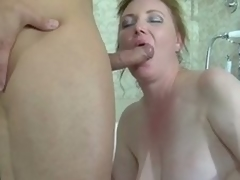 Fat brunette hair milf caught in a catch tube acquires gangbanged