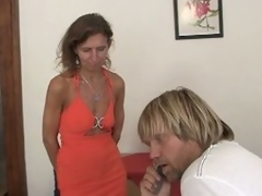 Randy redheaded granny threesome