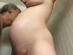 Preggy milf Becky Cumisha gets fondled with the addition of fucked from behind